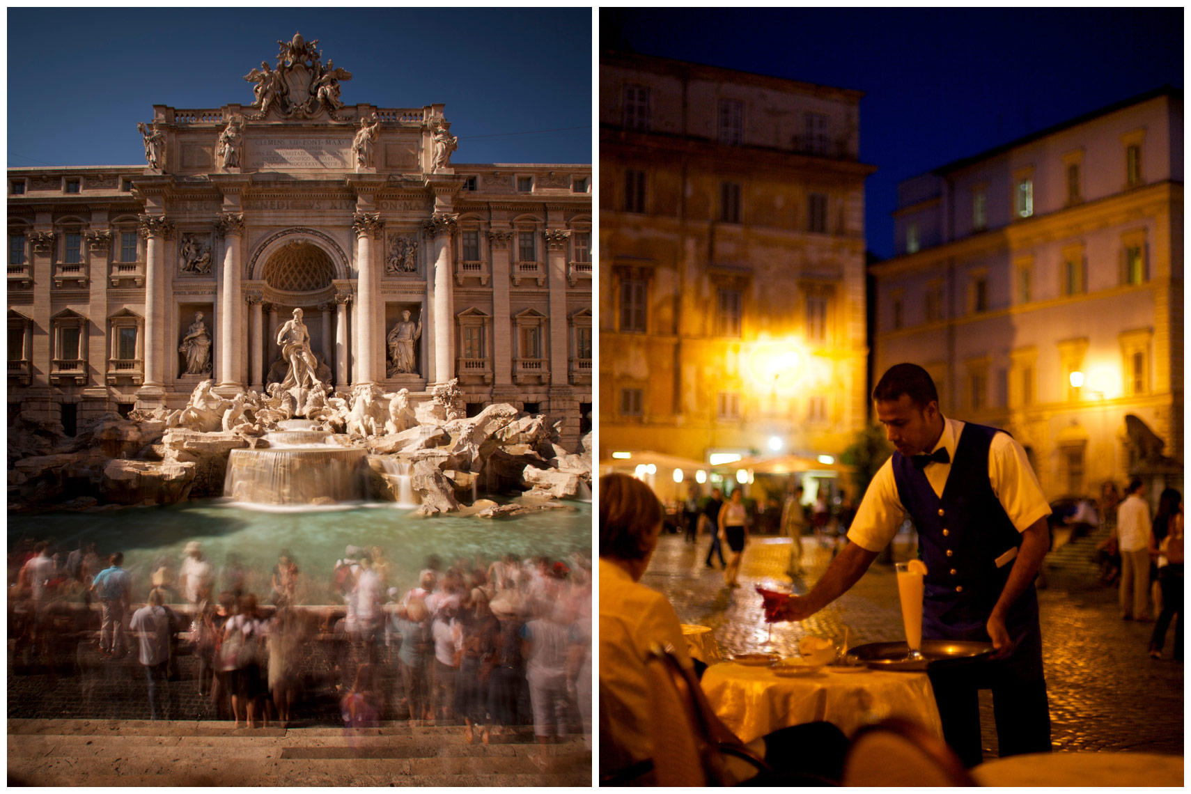 Trevi Fountain in Rome and a waiter at a cafe in the Piazza Santa Maria across the Tibor in Trastevere