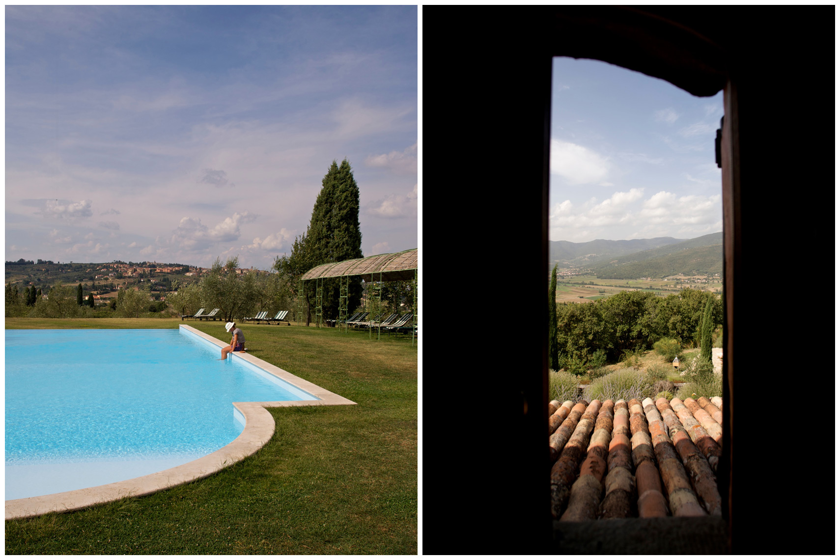 The Pool at the Hotel Locanda Dell Amorosa Sinalunga and a window looking onto the village of Mercatale