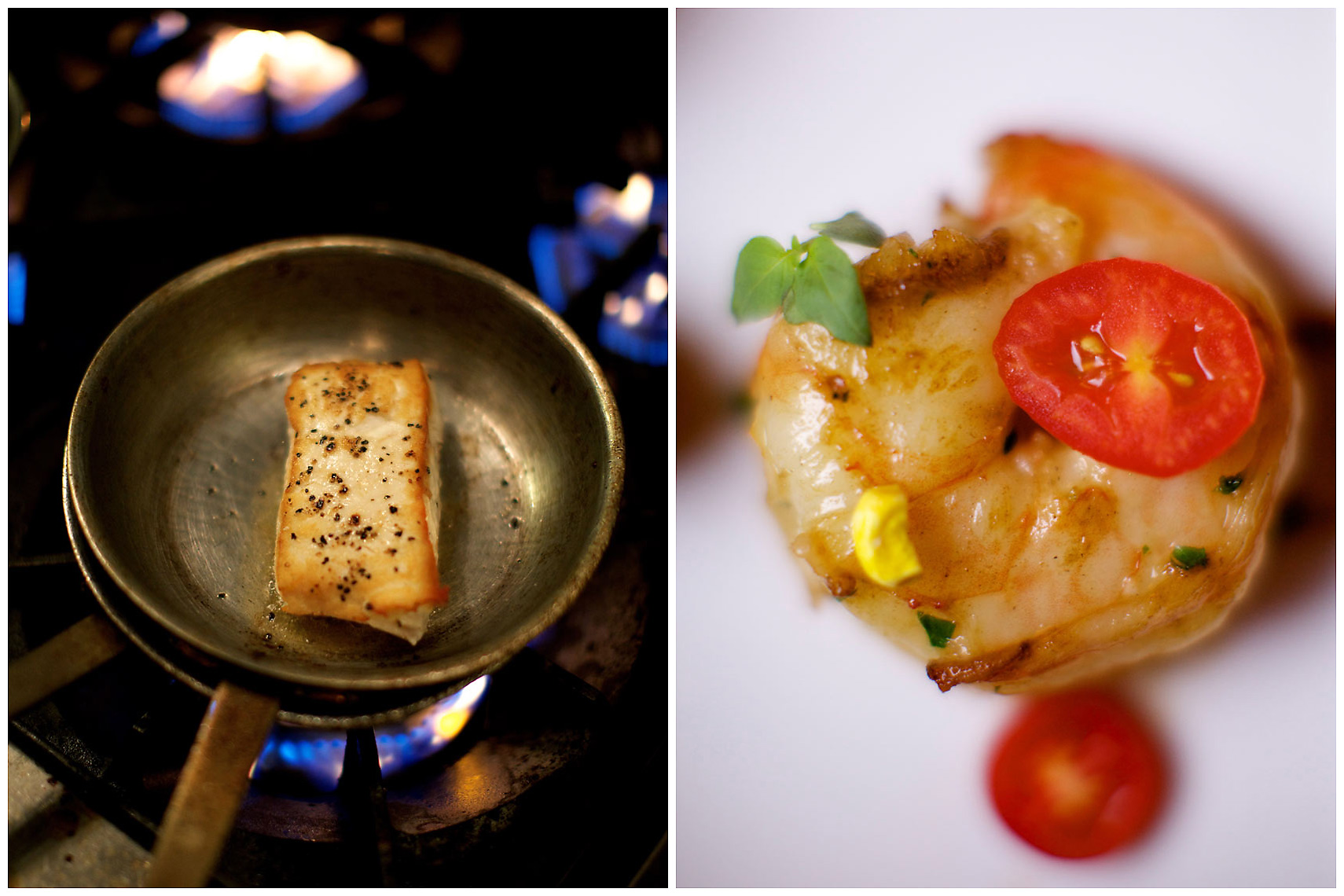 Wild Alaskan Halibut at the Sage Room | May River Shrimp from the River House