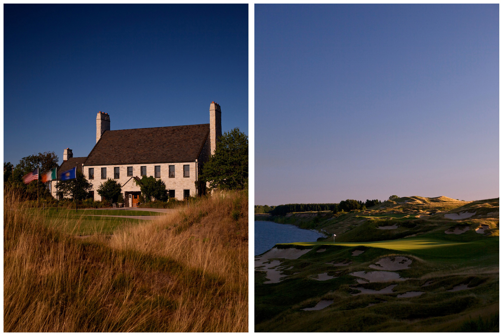 Clubhouse and 3rd hole at Whistling Straits in Kohler, Wisconsin