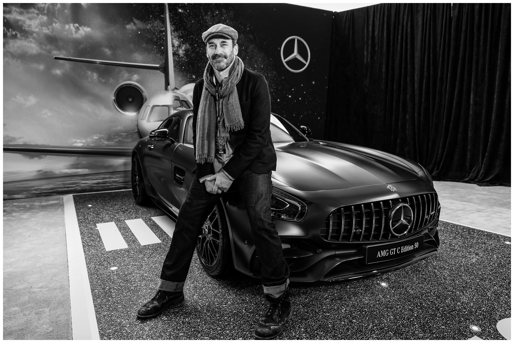 jon hamm pictured with an amg gt c edition 50 at a party mercedes-benz ambassador