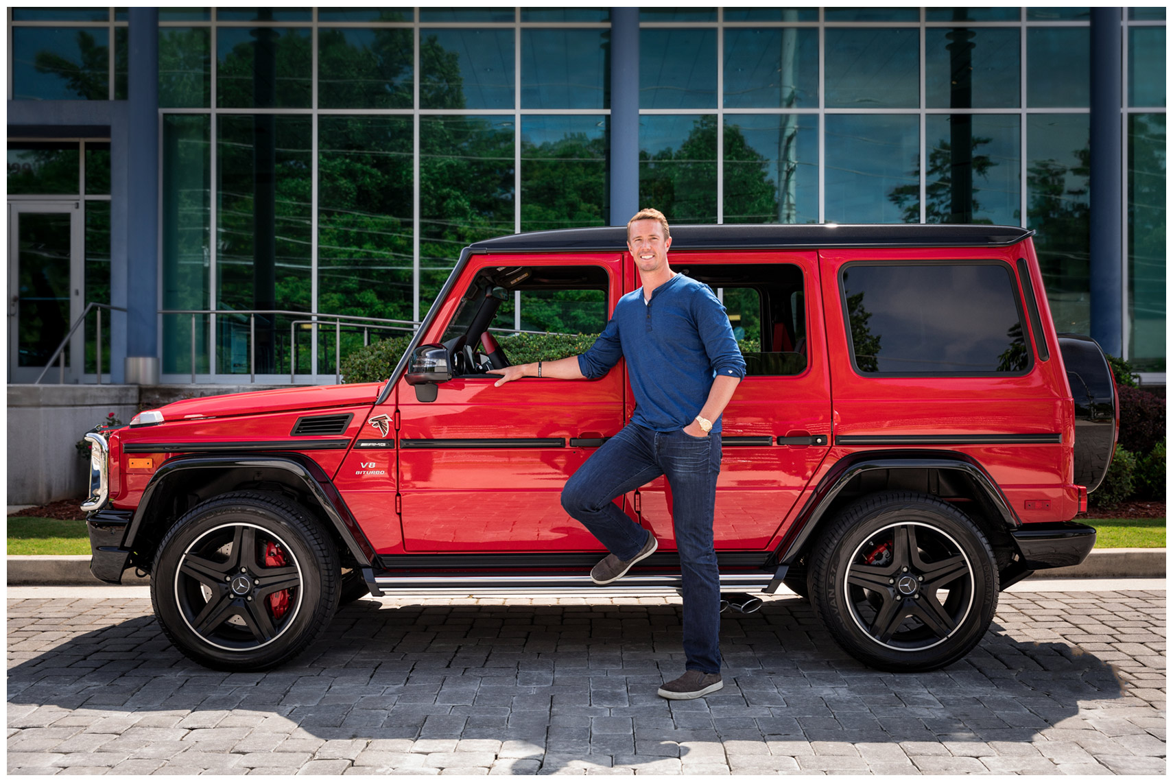 matt ryan mercedes-benz ambassador pictured with a special edition falcons g wagon
