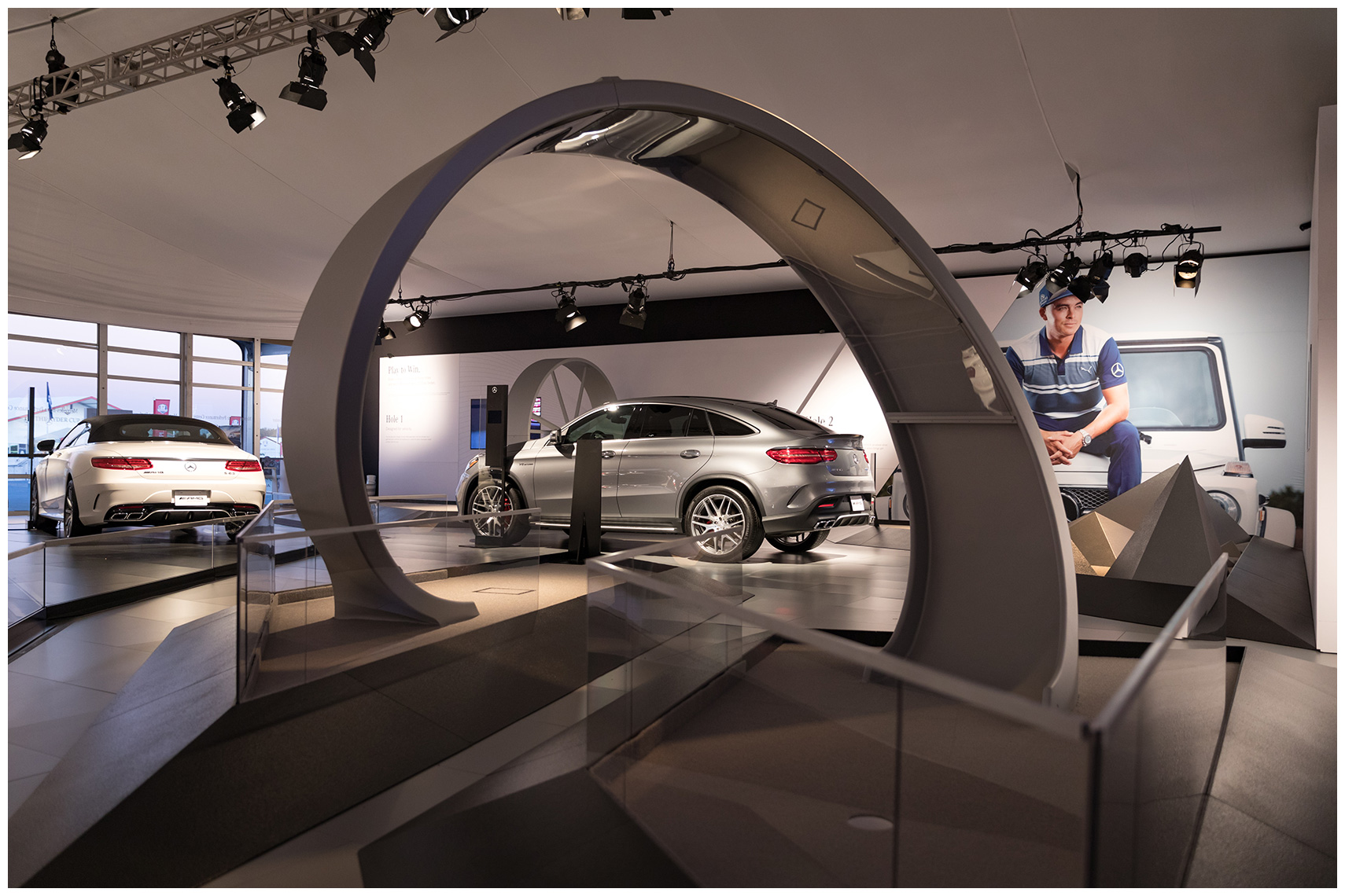 interior brand activation at the ryder cup mercedes-benz mini golf