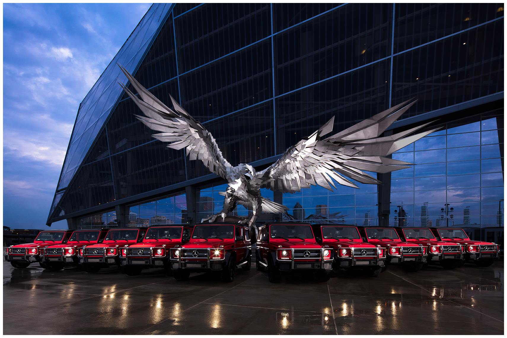 Gábor Miklós Szőke atlanta falcons sculpture mercedes benz stadium with ten special edition g wagons g63 amg