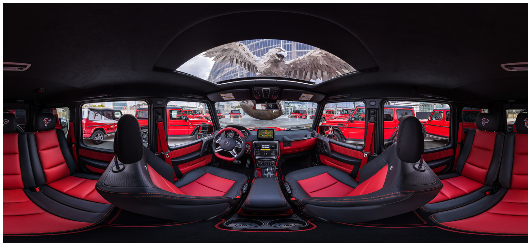 360 degree panoramic inside a falcon edition g63 amg underneath Gábor Miklós Szőke sculpture mercedes-benz stadium