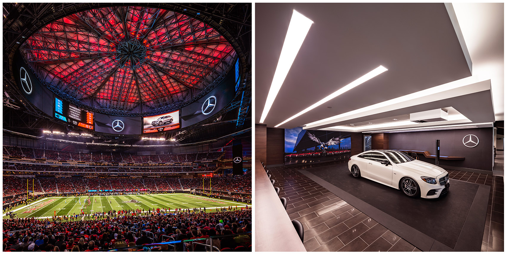 Wide angle view of the Mercedes-Benz Stadium and oculus and the Mercedes-Benz Club during an NFL game.