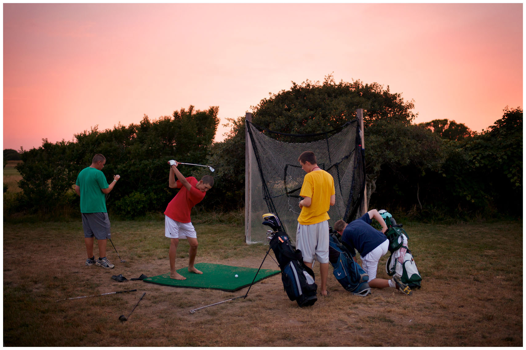 Caddie summer-campers at the Sankaty Head Golf Club on Nantucket Island.
