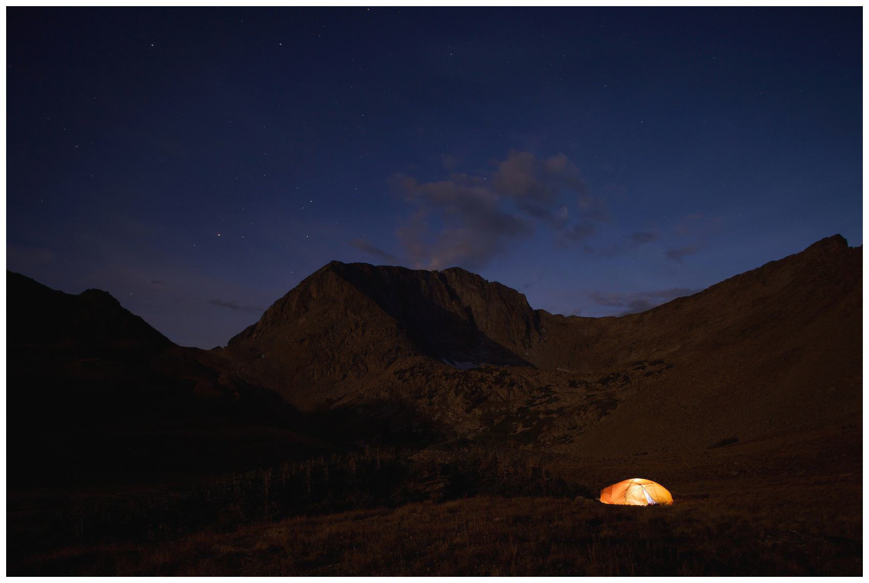 Tent at the base of the Nohku Crags of Colorado